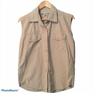 First Avenue Clothing button down tan blouse